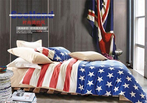 Luksusa klases gultas veļas komplekts no kokvilnas - 200 x 220cm AR PALAGU - M4