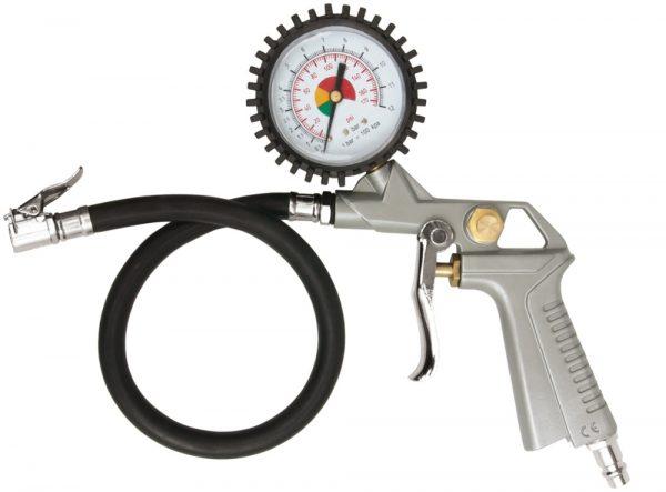 Kompresora pistole ar spiediena mērītāju (manometrs) OX-1025