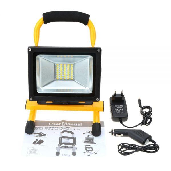 LED 30W Pārnēsājams prožektors ar lādējamu akumulātoru IP65 (Statīvs komplektā)