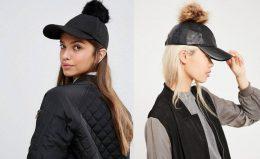 """Sieviešu cepure ar """"nagu"""" un mākslīgās kažokādas bumbuli"""