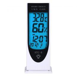 Termometrs/ pulkstenis/ gaisa mitruma mērītājs/ modinātājs - HTC8 ar displeja apgaismojumu