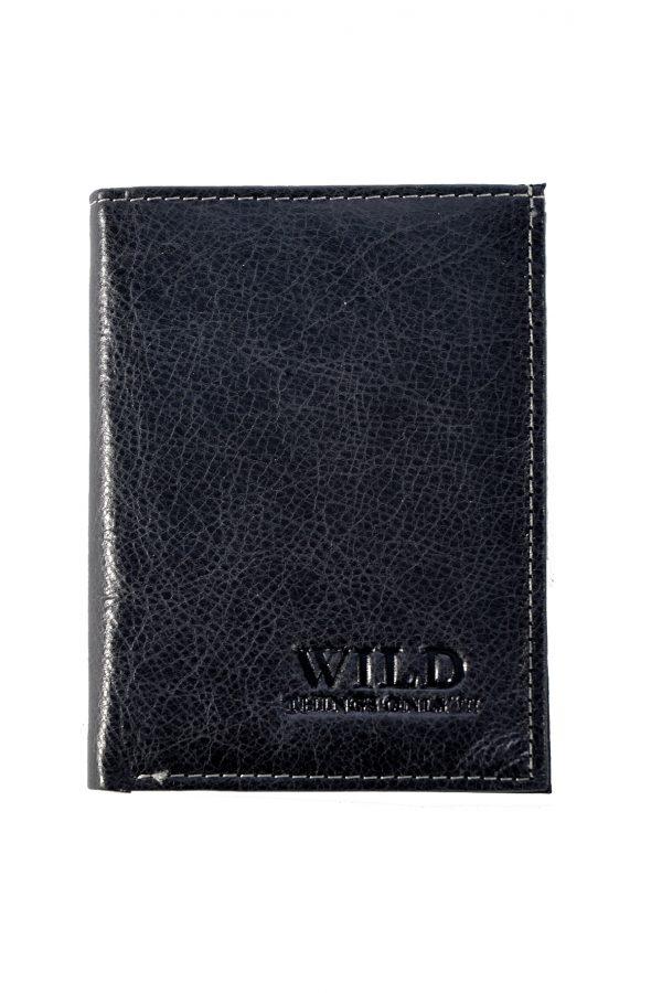 Vīriešu ādas naudas maks - WILD 3201-3 Black