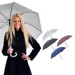 Sieviešu lietussargs ar punktiņiem un rišiņu