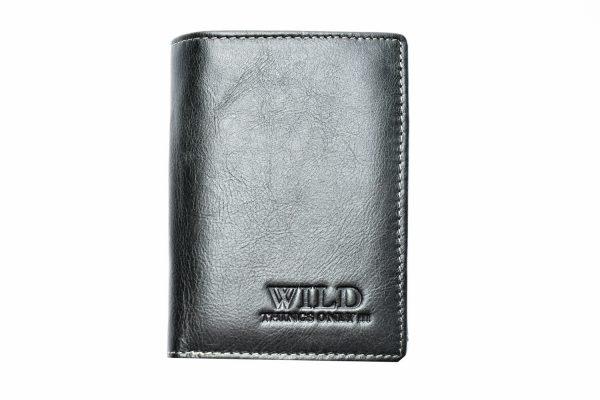 Vīriešu ādas naudas maks - WILD Q01 Black