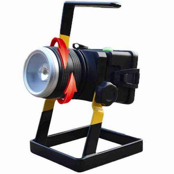 LED 30W Pārnēsājams prožektors ar ZOOM funkciju un lādējamu akumulatoru (Statīvs komplektā)