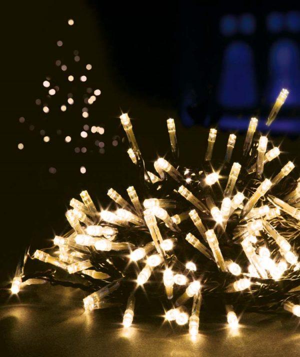 Ziemassvētku eglītes lampiņas ar 100 LED spuldzītēm silti baltā krāsā