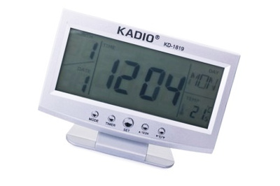 Galda elektroniskais pulkstenis / termometrs / modinātājs / kalendārs - KADIO