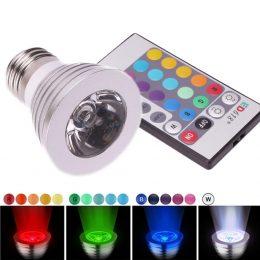 16 krāsu LED spuldze E27 5W ar pulti