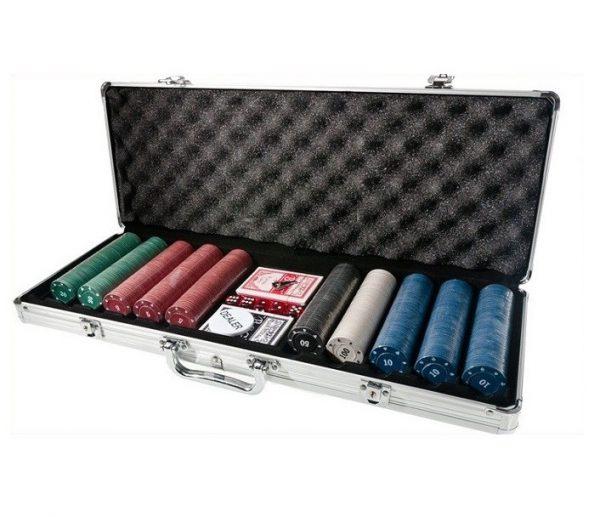 Lielais pokera komplekts ar 500 žetoniem - Alumīnija koferis