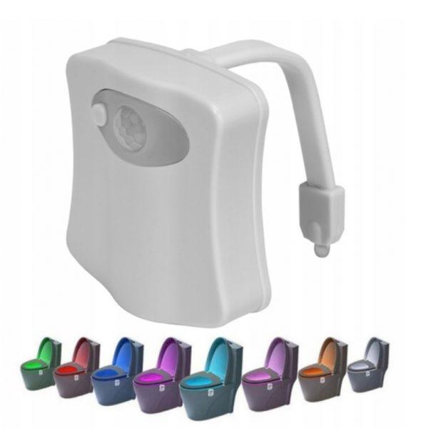 LED apgaismojums tualetes podam ar kustības sensoru / 8 krāsas