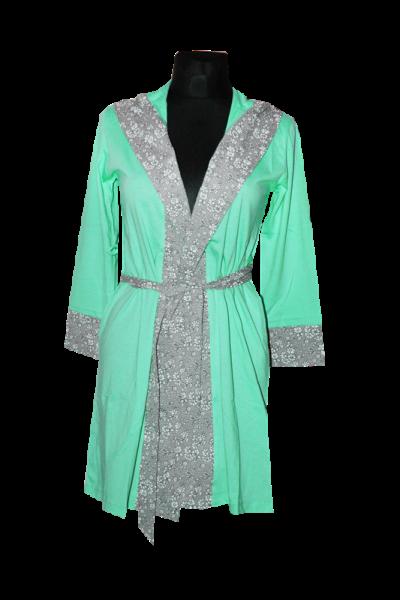 Sieviešu kokvilnas halāts - piparmētru zaļā krāsā