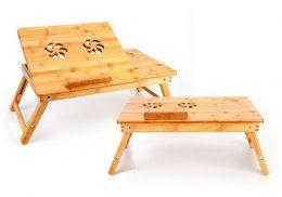 Datora galdiņš ar regulējamu virsmas leņķi no bambusa