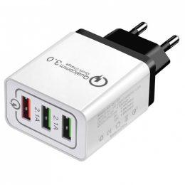 Universāls ātras uzlādes lādētājs - strāvas adapteris 3x USB Turbo QC 3.0