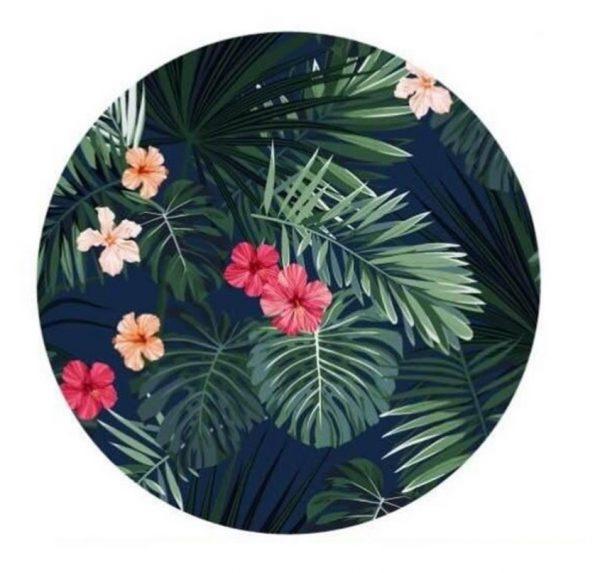 Apaļas formas dvielis - pleds ar ziedu apdruku