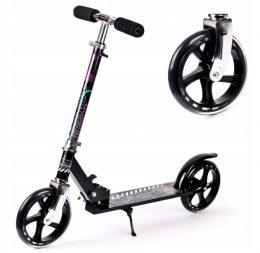 Alumīnija skrejritenis Scooter Black līdz 100 KG ( 20 cm riteņu diametrs )