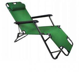 Saliekams dārza krēsls - sauļošanās guļamkrēsls dārzam, pludmalei ar 3 - zaļš