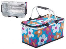 Piknika grozs, soma ar termoizolāciju ar ziedu rakstu