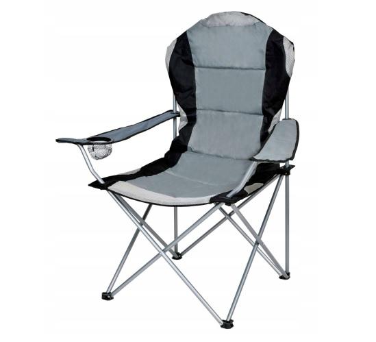 PREMIUM saliekams tūrisma krēsls ar atzveltni un roku balstiem