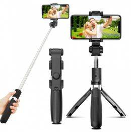 2in1 Selfie Stick + Tripod telefona turētājs selfija statīvs ar Bluetooth