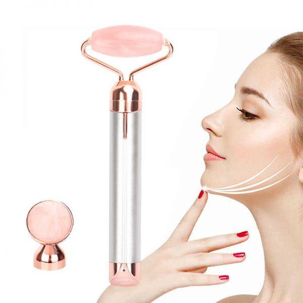 Dabīga kvarca masāžas rullītis sejai un kakla zonai ar vibrāciju, vibro masāžas funkcija