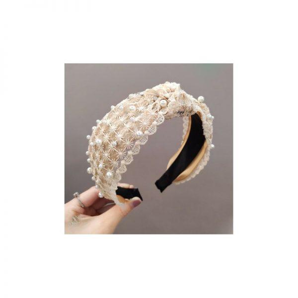 Mežģīņu matu stīpiņa ar pērlēm O224