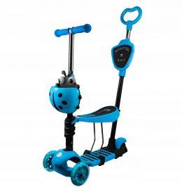 Bērnu skrejritenis Mārīte ar rokturi vecākiem Scooter 5 in 1 BLUE