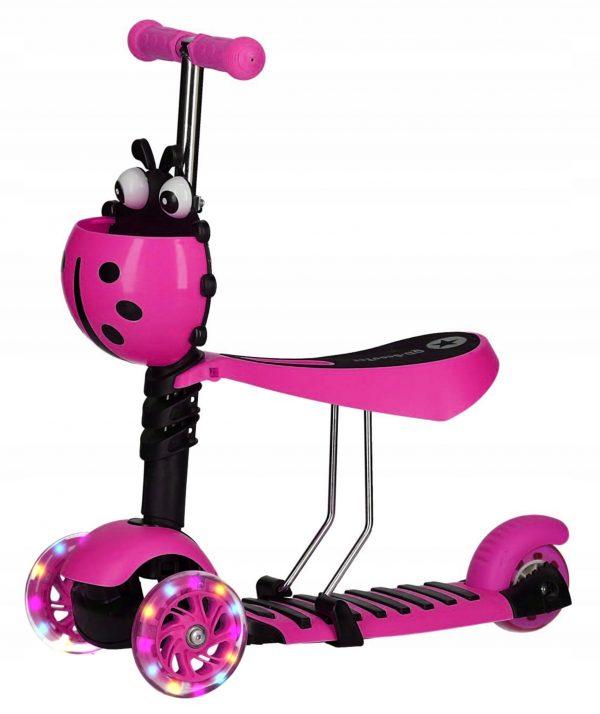 Bērnu skrejritenis Mārīte Scooter 2 in 1 rozā krāsā