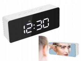Elektroniskais modinātājs - pulkstenis ar spoguļattēlu