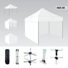 Ātri Saliekamā Telts 2X2 metri Pop up nojume ( jumts + 4 sienas + soma) baltā krāsā HEX40