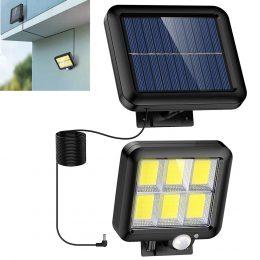 Solārais sienas apgaismojums - prožektors ar saules baterijām ar kabeli - kustību un nakts sensors