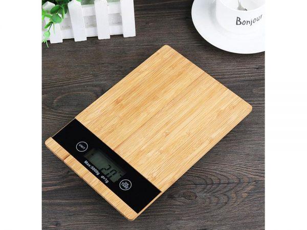 Bamboo - elektroniskie virtuves svari ar bambusa dizainu līdz 5 kg