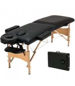 Saliekams masāžas galds - masāžas kušete 2 daļīga BLACK