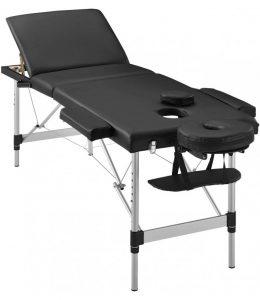 Saliekams masāžas galds - masāžas kušete 3 daļīga 3 zonu ar alumīnija rāmi BLACK