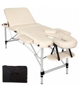 Saliekams masāžas galds - masāžas kušete 3 daļīga 3 zonu ar alumīnija rāmi CREAM