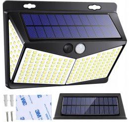 LED solārais sienas apgaismojums - prožektors ar saules baterijām- kustību un krēslas sensoru 3M