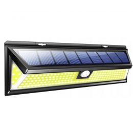 LED solārais sienas apgaismojums - prožektors ar saules baterijām- kustību un krēslas sensoru 180LED